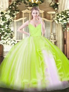 Floor Length Yellow Green Quinceanera Dress Tulle Sleeveless Ruffles