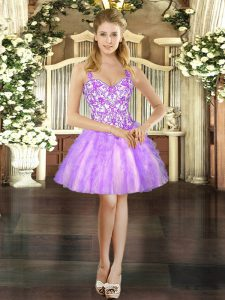 Straps Sleeveless Lace Up Prom Party Dress Lilac Tulle