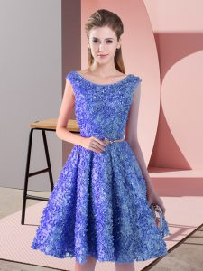 Modern Blue Prom Evening Gown Prom and Party with Belt Scoop Sleeveless Lace Up