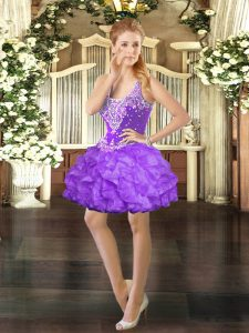 Sleeveless Organza Mini Length Lace Up Prom Evening Gown in Eggplant Purple with Beading and Ruffles