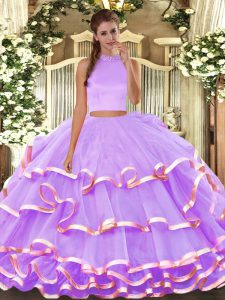 Sweet Lavender Vestidos de Quinceanera Military Ball and Sweet 16 and Quinceanera with Beading and Ruffled Layers Halter Top Sleeveless Backless