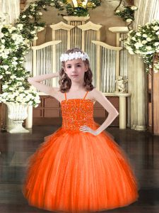 Orange Red Pageant Dress for Teens Party and Quinceanera with Beading and Ruffles Spaghetti Straps Sleeveless Lace Up