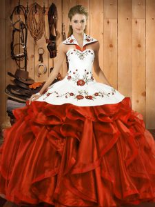 Floor Length Ball Gowns Sleeveless Rust Red Vestidos de Quinceanera Lace Up