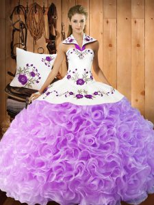 Pretty Lilac Sleeveless Floor Length Embroidery Lace Up Sweet 16 Dresses