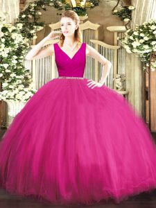 Sleeveless Tulle Floor Length Zipper Sweet 16 Quinceanera Dress in Fuchsia with Beading