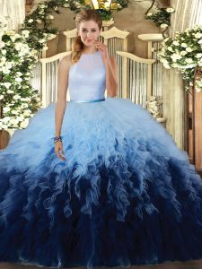 Fantastic High-neck Sleeveless Tulle Vestidos de Quinceanera Ruffles Backless