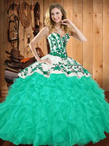 Cheap Turquoise Sleeveless Satin and Organza Lace Up Quinceanera Gowns for Military Ball and Sweet 16 and Quinceanera