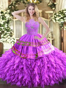 Lilac Ball Gowns Halter Top Sleeveless Tulle Floor Length Zipper Beading and Ruffles and Sequins Quinceanera Gowns