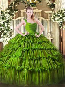 Floor Length Zipper Ball Gown Prom Dress Green for Sweet 16 and Quinceanera with Beading and Ruffled Layers