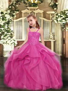 Custom Design Hot Pink Organza Lace Up Straps Sleeveless Floor Length Pageant Dress Womens Beading