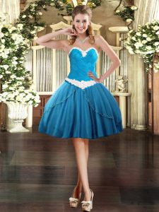 Mini Length Baby Blue Prom Dress Sweetheart Sleeveless Lace Up