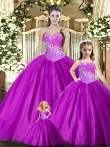 Flare Beading and Ruching 15th Birthday Dress Purple Lace Up Sleeveless Floor Length