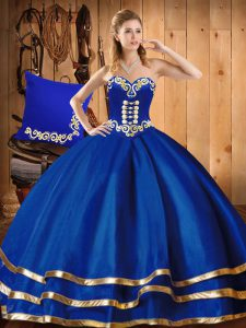 Fashionable Sleeveless Organza Floor Length Lace Up Sweet 16 Quinceanera Dress in Blue with Embroidery