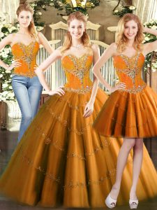 Modern Orange Red Ball Gowns Beading Quinceanera Dresses Lace Up Tulle Sleeveless Floor Length