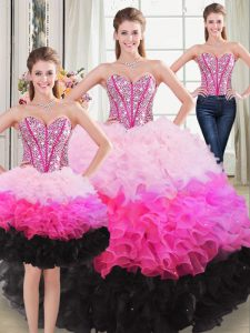 Eye-catching Floor Length Multi-color Quince Ball Gowns Organza Sleeveless Beading and Ruffles