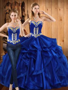 Colorful Sleeveless Floor Length Embroidery and Ruffles Lace Up Vestidos de Quinceanera with Royal Blue