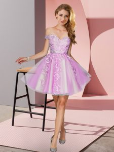 Lovely Lilac Sleeveless Mini Length Appliques Zipper Quinceanera Court of Honor Dress