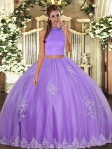 Sleeveless Tulle Floor Length Backless Sweet 16 Dresses in Lavender with Beading and Appliques