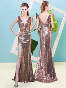Romantic Gold V-neck Neckline Sequins Evening Dress Sleeveless Zipper