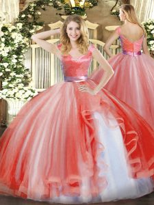Top Selling Floor Length Zipper 15th Birthday Dress Watermelon Red for Military Ball and Sweet 16 and Quinceanera with Ruffles