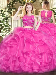 Customized Sleeveless Zipper Floor Length Beading and Ruffles Vestidos de Quinceanera