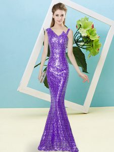 Classical Sequined Sleeveless Floor Length and Sequins