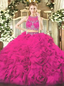 Scoop Sleeveless Zipper Quinceanera Dress Fuchsia Fabric With Rolling Flowers