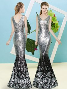 Popular Floor Length Zipper Evening Dress Silver for Prom and Party with Sequins