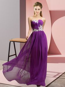 Purple Empire Chiffon Sweetheart Sleeveless Appliques Floor Length Lace Up Prom Evening Gown