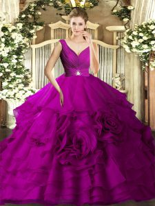 Adorable Beading and Ruffles Sweet 16 Dress Fuchsia Backless Sleeveless Floor Length