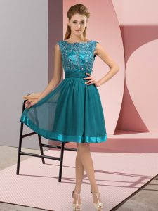 Teal Scoop Backless Appliques Dress for Prom Sleeveless