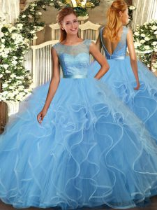 Deluxe Aqua Blue Ball Gowns Scoop Sleeveless Organza Floor Length Backless Ruffles Quinceanera Gowns