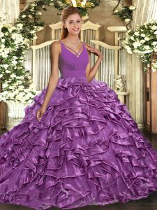 Sleeveless Taffeta Floor Length Backless Quinceanera Gowns in Lilac with Beading and Ruffles