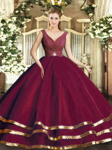 V-neck Sleeveless Backless Vestidos de Quinceanera Burgundy Tulle