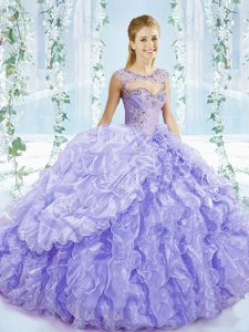 Suitable Lavender Sleeveless Brush Train Beading and Ruffles and Pick Ups Vestidos de Quinceanera