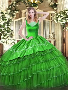 Superior Green Scoop Neckline Beading and Embroidery Quince Ball Gowns Sleeveless Side Zipper