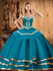 Floor Length Teal Quince Ball Gowns Organza Sleeveless Embroidery
