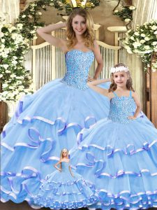 Lavender Ball Gowns Beading and Ruffled Layers Vestidos de Quinceanera Lace Up Organza Sleeveless Floor Length