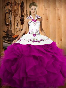 Latest Floor Length Fuchsia Vestidos de Quinceanera Halter Top Sleeveless Lace Up