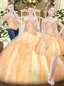 Popular Floor Length Gold Quinceanera Gowns Off The Shoulder Sleeveless Lace Up