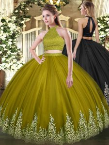 Edgy Beading and Appliques Sweet 16 Dresses Olive Green Backless Sleeveless Floor Length
