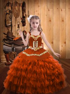 Attractive Rust Red Straps Neckline Embroidery and Ruffled Layers Child Pageant Dress Sleeveless Lace Up