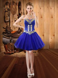 Delicate Sleeveless Mini Length Embroidery Lace Up Dress for Prom with Royal Blue