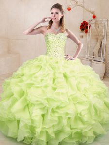 Nice Yellow Green Sweet 16 Dresses Sweet 16 and Quinceanera with Beading and Ruffles Sweetheart Sleeveless Lace Up