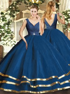 Navy Blue Tulle Backless Quinceanera Gown Sleeveless Floor Length Beading and Ruffled Layers