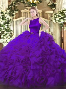 High End Purple Scoop Clasp Handle Belt Vestidos de Quinceanera Sleeveless