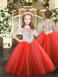 Latest Coral Red Ball Gowns Scoop Sleeveless Tulle Floor Length Zipper Beading Little Girl Pageant Gowns