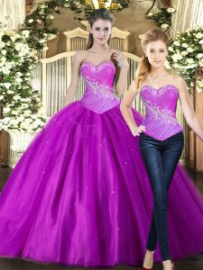 Delicate Floor Length Ball Gowns Sleeveless Fuchsia Quinceanera Dress Lace Up