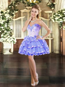 Lavender Sleeveless Mini Length Beading and Ruffled Layers Lace Up Prom Evening Gown