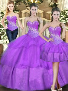 Luxury Eggplant Purple Sleeveless Tulle Lace Up 15 Quinceanera Dress for Military Ball and Sweet 16 and Quinceanera